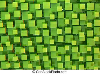 abstrakt, würfel, grüner hintergrund