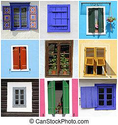abstrakt, wand, mit, bilder, von, rustic, windows