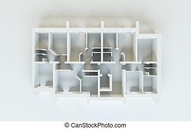 abstrakt, weißes, floor., draufsicht