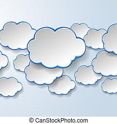 abstrakt, weißes, papier, sprechblasen, auf, hellblau,...