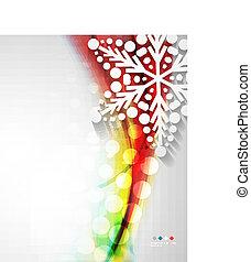 abstrakt, weihnachten, welle, schneeflocke, hintergrund