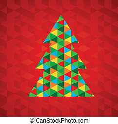 abstrakt, weihnachtsbaum, mit, roter hintergrund