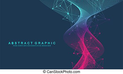 abstrakt, welle, crispr, genetisch, atom, cas9, engineering...