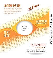 abstrakt, -, welle, flieger, design, hintergrund, orangenkreis