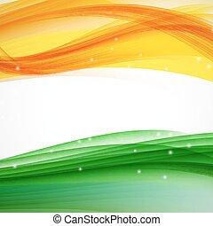 abstrakt, welle, hintergrund., vektor, grün, orange, weißes, illus