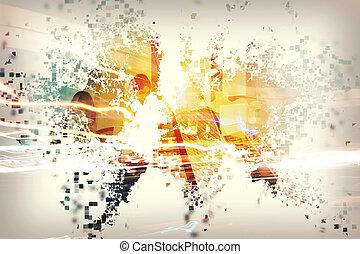 abstrakt, welt, mit, businessperson., begriff, von, global, internet., doppelte belichtung