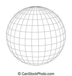 abstrakt, wireframe, freigestellt, kugelförmig, vektor, weißes, erdball