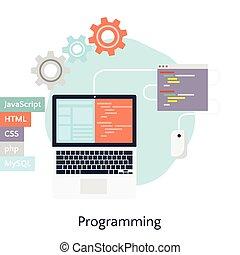 abstrakt, wohnung, vektor, abbildung, von, software, kodierung