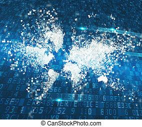 abstrakt, world., begrepp, av, global, internet samband