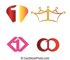 abstrakt, zählen 1, logo, symbol, ikone