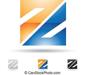 abstrakt, z, brev, ikon