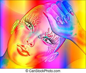 abstrakte kunst, frau, gesicht