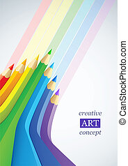 abstrakte kunst, hintergrund, mit, farbe, bleistifte