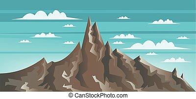 abstrakte landschaft, mit, brauner, aufstellen