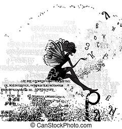 abstraktes design, mit, a, m�dchen, grunge, text