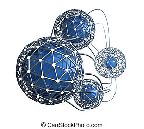 abstraktes konzept, vernetzung, 3d
