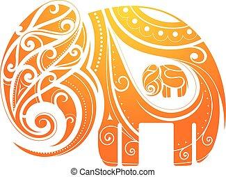 abstraktion, elefant