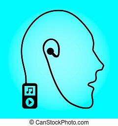 abstraktion, eps10, form, ilustration, ambulant, hovedtelefoner, -, connection., spiller, vektor, musik, menneske, head., teknologi