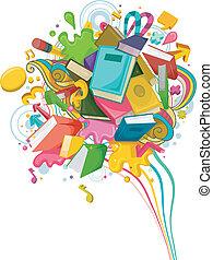 abstraktní, školství, design