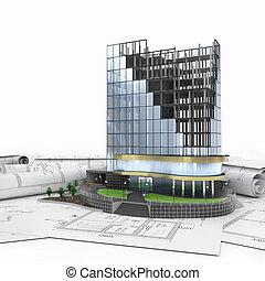 abstraktní, 3, o, budova, vyvolávání