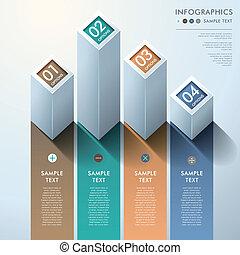 abstraktní, 3, sloupcový diagram, infographics
