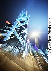 abstraktní, architektura, grafické pozadí, večer