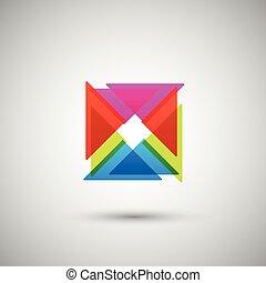 abstraktní, barevný, trojúhelník, dále, jeden, běloba...