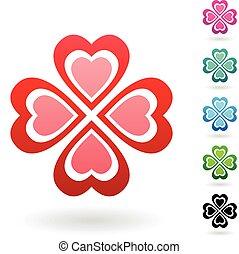 abstraktní, barvitý, 4 list, jetel