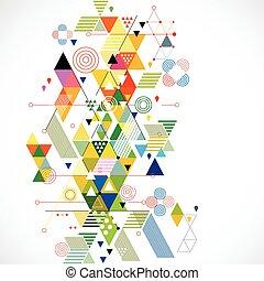 abstraktní, barvitý, a, tvořivý, geometrický, grafické...