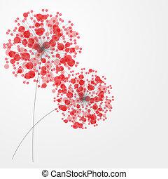 abstraktní, barvitý, grafické pozadí, s, flowers., vektor,...