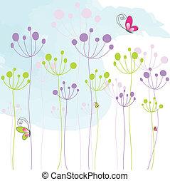abstraktní, barvitý, květinový, motýl