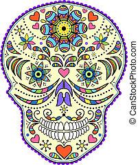 abstraktní, barvitý, lebka