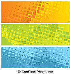 abstraktní, barvitý, standarta