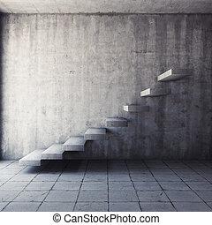abstraktní, betonovat, schodiště