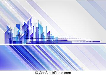 abstraktní, budova, a, město, ilustrace