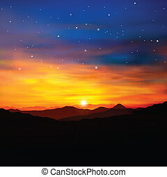 abstraktní, druh, mladický grafické pozadí, s, zlatý, východ slunce