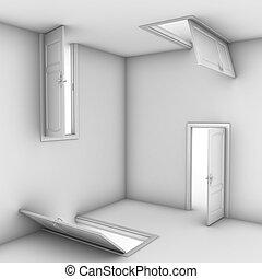 abstraktní, dveře