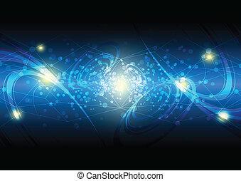 abstraktní, dvit hvězd, a, vesmír