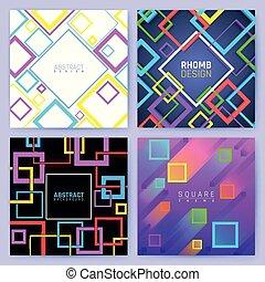 abstraktní, geometrický, vektor, grafické pozadí, s, barva, squares., tvořivý, design, povolání, brožura, šablona