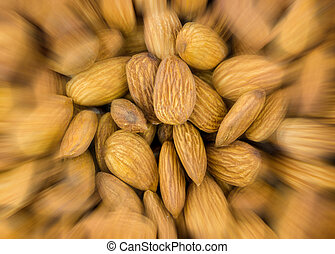 abstraktní, grafické pozadí, úspěch, rozmazat, uspíšení, ořech, mandle, kuchařský, model, closeup, hněď, lahodný, snack