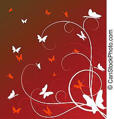 abstraktní, grafické pozadí, květinový
