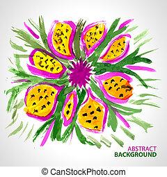 abstraktní, grafické pozadí, o, jeden, kytice k květovat, do, barva vodová, móda