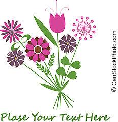 abstraktní, grafické pozadí, s, flowers.