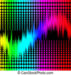 abstraktní, grafické pozadí, s, spektrum, vyrovnávač, dále, čerň