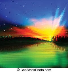 abstraktní, grafické pozadí, východ slunce, druh