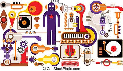 abstraktní, hudba, ilustrace