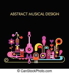 abstraktní, hudební, design