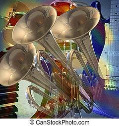 abstraktní, hudební, grafické pozadí