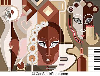 abstraktní, hudební, ilustrace