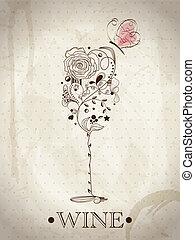 abstraktní, karta, víno